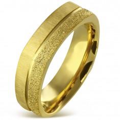 Kantiger Edelstahlring in goldener Farbe - Sandstreifen und Satinstreifen, 7 mm
