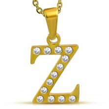 Glänzender Edelstahlanhänger in goldener Farbe, Buchstabe Z mit Zirkonia