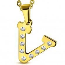 Edelstahlanhänger in goldener Farbe, Buchstabe V mit klaren Zirkonia