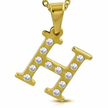 Glänzender Edelstahlanhänger in goldener Farbe, Buchstabe H mit Zirkonia