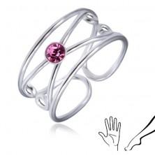 925 Silberring für Finger oder Zehe - runder hellvioletter Zirkonia, Doppelschlinge