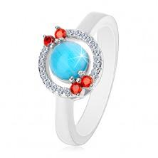 Ring aus 925 Silber - Zirkoniakreis, aquamarinblaue Mitte
