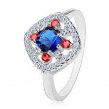 925 Silberring, dunkelblaue Mitte, klare und rote Zirkoniasteine