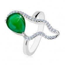 925 Silberring - große grüne Träne aus Zirkonia, klare asymmetrische Kontur