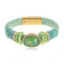 Grünes Armband mit Schlangenmuster, großes geschliffenes Oval, Schmuckperlen