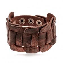 Breites Armband aus dunkelbraunem Kunstleder, geflochten, geschliffen