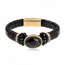 Schwarzes Armband mit Blumenmuster, großes geschliffenes Oval, Schmuckperlen