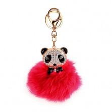 Pinkfarbener Schlüsselanhänger mit Panda - Fellbommel, goldfarbener Karabiner