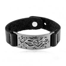 Schwarzes Kunstlederarmband, edelstahlgraues Plättchen mit Ornament