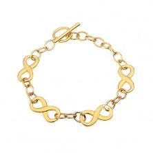 Armkette aus Chirurgenstahl in goldener Farbe mit Unendlichkeissymbolen