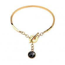 Goldfarbener Edelstahlarmreifen, nicht vollendetes Oval, hängender schwarzer Zirkonia