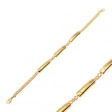 Armband aus 316L Stahl, goldfarben, drei Walzen mit schräger Verzierung