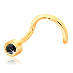 Nasenpiercing aus 14K Gelbgold - gebogen, schwarzer Zirkonia in Fassung