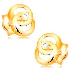 Ohrstecker in 14K Gelbgold - zwei verflochtene Kreise mit Brillanten in der Mitte