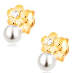 Ohrstecker aus 14K Gelbgold, glänzende Blume mit klarem Diamanten und weißer Perle