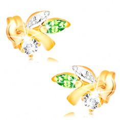 585 Goldohrstecker - Ast mit Blättern, grüner Smaragd, klarer Diamant