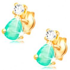 Ohrstecker aus 14K Gelbgold - tropfenförmiger grüner Smaragd, klarer Diamant