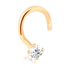 Gebogenes Nasenpiercing aus 9K Gold, mit glanzvollem Diamanten, 1,5 mm
