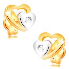 Brillantohrstecker aus 14K Gold - zwei Herzen und geschliffener klarer Diamant