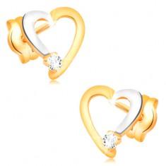 Brillantohrstecker in 14K Gold - Herzumriss mit klarem Diamanten