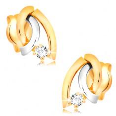Zweifarbige Diamantohrstecker in 14K Gold - drei gebogene Linien, glitzernder Brillant