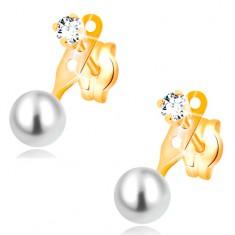 Ohrstecker aus 14K Gelbgold, klarer Zirkonia und weiße runde Perle