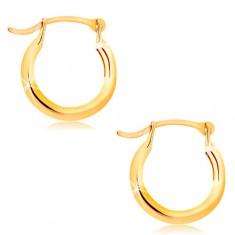 Ohrringe aus 14K Gelbgold - kleine glänzende Creolen
