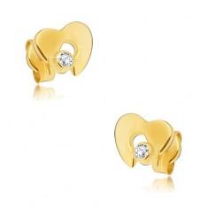 Goldene 585 Diamantohrstecker - glänzendes Herz mit klarem Brillanten
