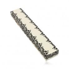 Geschenkschachtel in cremeweißer Farbe, für Kette oder Armkette, schwarze Spitze