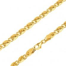 Kette aus gelbem 14K Gold - kleine Glieder mit s-förmigem Muster, 600 mm