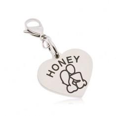 Edelstahlschlüsselanhänger, Herz mit Aufschrift HONEY, verliebtes Paar