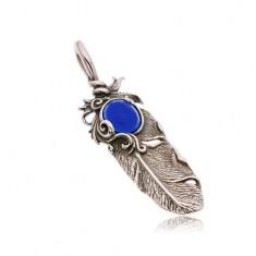 Patinierter Edelstahlanhänger, Indianerfeder und ovaler blauer Stein