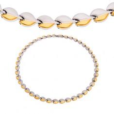 Edelstahlcollier mit Magneten, ovale Kettenglieder, silber- und goldfarben