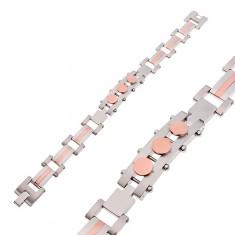 Armband aus Chirurgenstahl, Plättchen mit Kreisen, silber- und kupferfarben