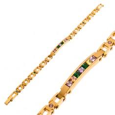 Edelstahlarmband in goldener Farbe, schmales Plättchen und farbige Zirkonia