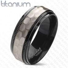 Titantrauring, schwarze gerillte Kanten, geschliffener matter Mittelstreifen, 8 mm