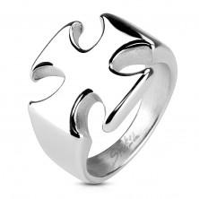 Massiver Ring aus Chirurgenstahl, glattes glänzendes Malteser Kreuz
