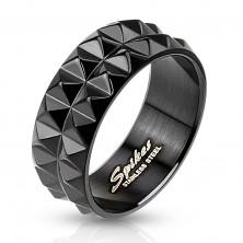 Ring aus Chirurgenstahl in schwarz, geschliffene Oberfläche, 8 mm