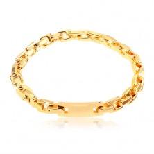 Armband aus Chirurgenstahl mit Plättchen, eckigen Kettenglieder, goldfarben