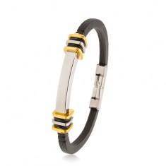Schwarzes Armband aus Gummi, Edelstahlplättchen, Ringe und Quadrate, silber- und goldfarben
