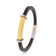 Schwarzes Armband aus Gummi, goldfarbenes Edelstahlplättchen, Ringe und Quadrate