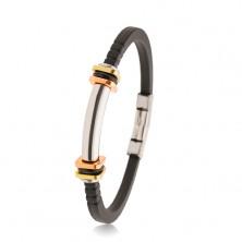 Armband aus schwarzem Gummi, Stahlwalze, zweifarbige Quadrate