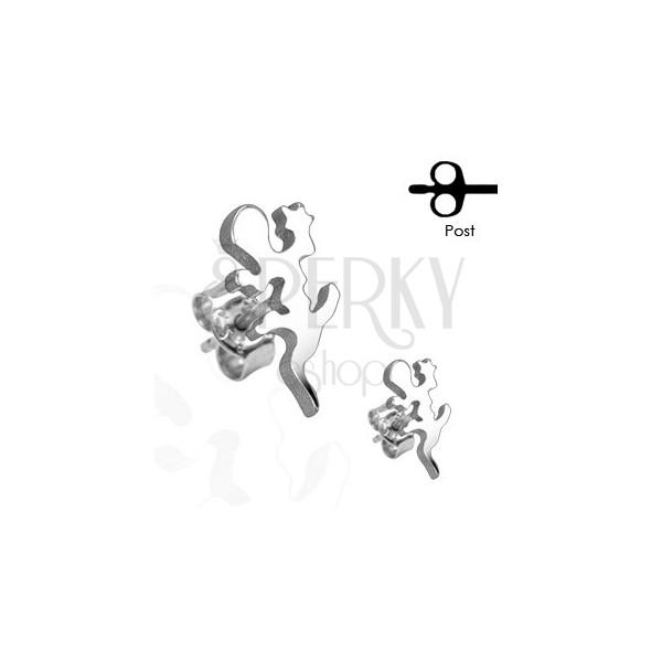 Edelstahl Ohrringe - Eidechse in einem silbernen Farbton, Ohrstecker