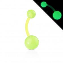 Bioflex Bauchnabelpiercing – Kugeln mit kleinen Blasen, glüht im Dunkeln