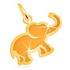 Anhänger in 14K Gelbgold - kleiner flacher Elefant mit matter Mitte