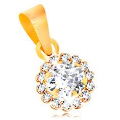 14K Gelbgoldanhänger - glitzernde klare Zirkoniablume