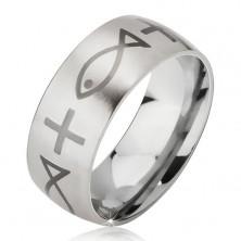 Matter Ring aus Chirurgenstahl, silberfarben, Kreuz und Fisch, 6 mm