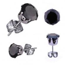 Silberfarbene Edelstahlohrstecker, runder schwarzer Zirkonia, 5 mm