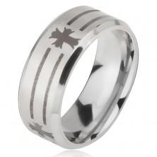 Ring aus 316L Stahl, silberfarben, Linien und Kreuze, 6 mm