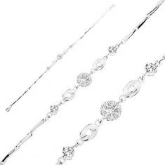 Armkette aus 925 Silber, klare Zirkoniablume, glänzende Ovale mit Herzen